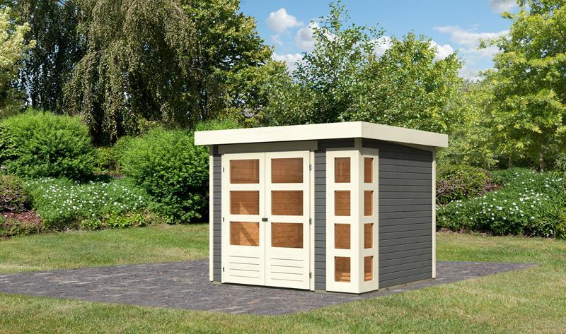 Woodfeeling Karibu Holz-Gartenhaus Kerko 3 in terragrau