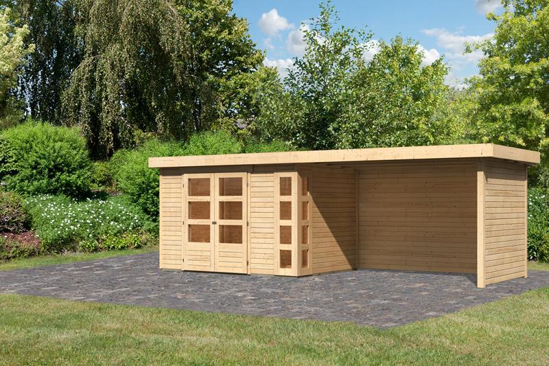 Woodfeeling Karibu Holz-Gartenhaus Kerko 4  im Set mit Anbaudach 2,80 m Breiteund 19 mm Seiten- Rückwand in naturbelassen (unbehandelt)