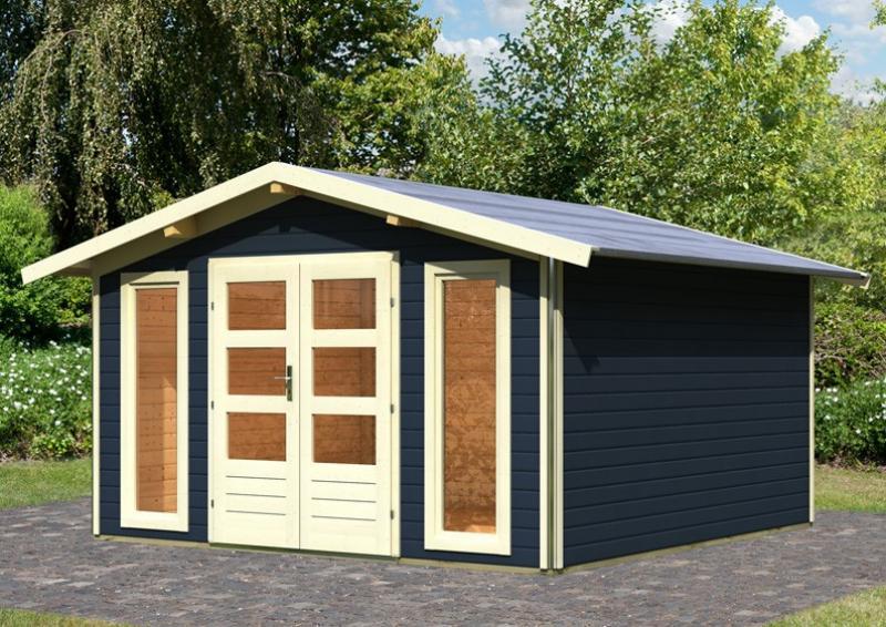 Karibu Holz-Gartenhaus Bensburg 2 Satteldach 40 mm System - opalgrau