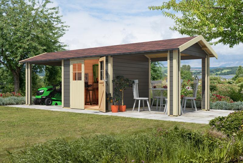 Karibu Holz-Gartenhaus  28mm Espelo 4 im Set mit 2 Dachausbauelement terragrau