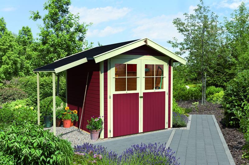 Karibu Holz-Gartenhaus Harburg 2 - 19 mm Schraub- Stecksystem   - kastanienrot