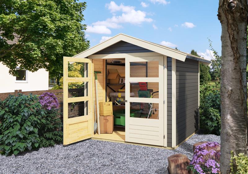 Karibu Holz-Gartenhaus  19mm Harburg 5 inkl. Türversion modern naturbelassen