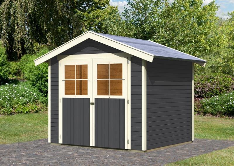Karibu Holz-Gartenhaus Harburg 4 - 19 mm Schraub- Stecksystem   - terragrau