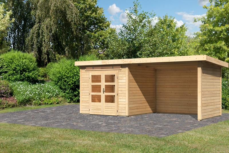 Woodfeeling Karibu Holz-Gartenhaus Kandern 3  im Set mit Anbaudach 2,95 m Breite und 28 mm Seiten- und Rückwand in naturbelassen (unbehandelt)