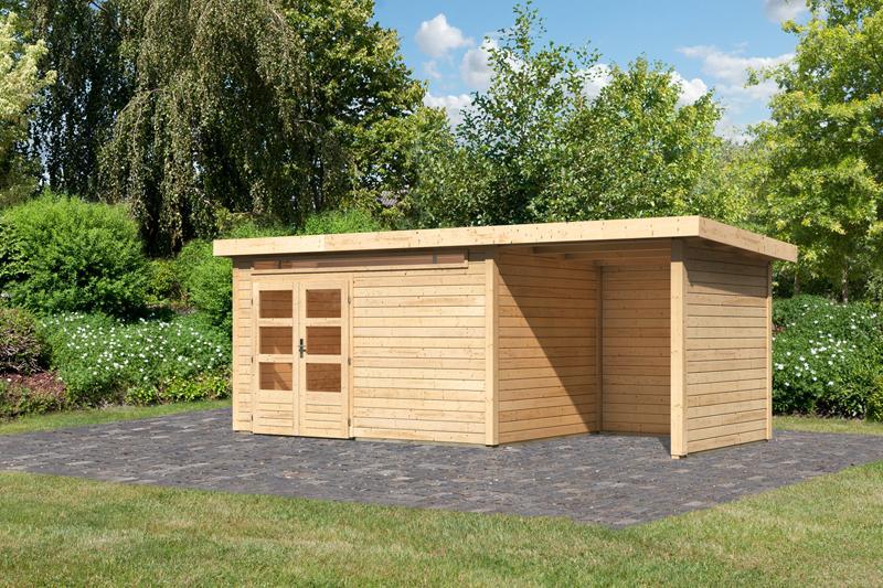 Woodfeeling Karibu Holz Gartenhaus Kandern 7 im Set mit Anbaudach 2,35 m Breite und  28 mm Seiten- und Rückwand in naturbelassen (unbehandelt)
