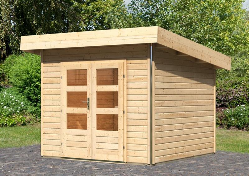 Karibu Holz-Gartenhaus Moosburg 1 Pultdach 40 mm System - natur