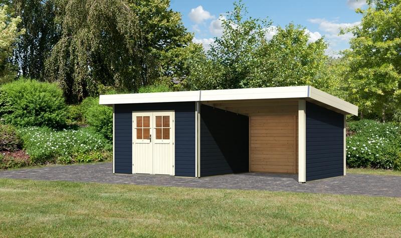 Karibu Holz-Gartenhaus  40 mm Moosburg 3 Türversion classic im Set 3 m Anbaudach Seiten- und Rückwand opalgrau
