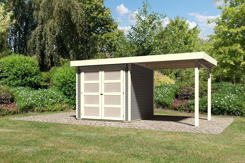 Karibu Holz-Gartenhaus  19mm Mühlendorf 2 im Set mit Anbaudach 2,40 m Breite terragrau