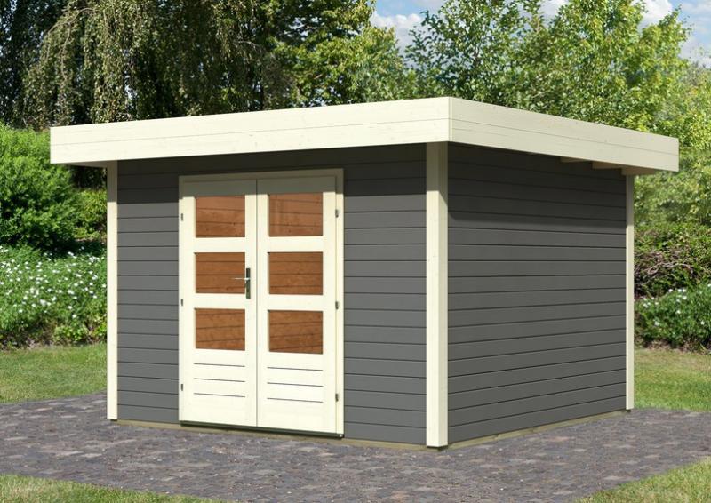 Sehr Gut Karibu Gartenhaus Multi Cube 4 Flachdach 28 mm System - terragrau EU35