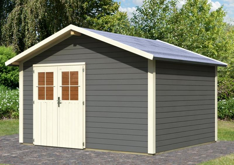 Karibu Holz-Gartenhaus Oldeborg 1 - 28 mm Wandstärke Eco Steck- und Schraubsystem, - terragrau