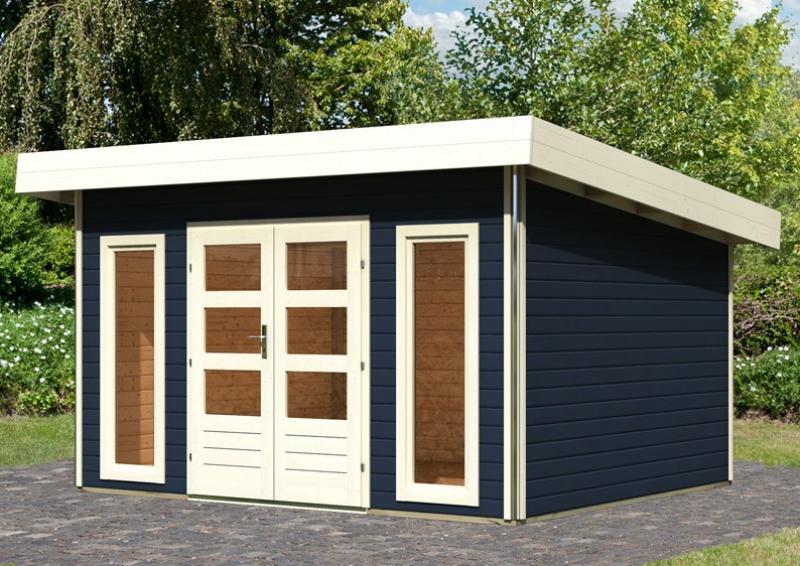Karibu Holz-Gartenhaus Tecklenburg 1 Pultdach 40 mm System - opalgrau