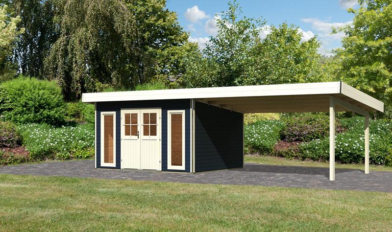 Karibu Holz-Gartenhaus  40 mm Tecklenburg 1 Türversion classic im Set 4 m Anbaudach opalgrau