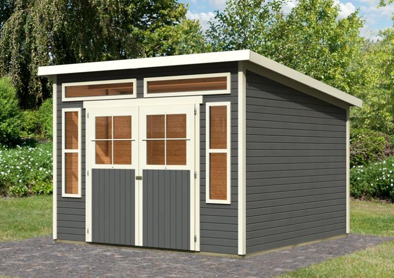 Karibu Gartenhaus Tinkenau 8 - 19 mm Pultdach Schraub- Stecksystem - terragrau