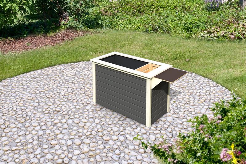 Karibu Hochbeet 1 - 315 l Fassungsvermögen - inkl Schrankoption - 19mm - terragrau