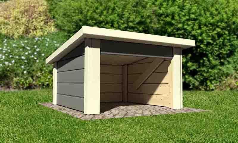 Woodfeeling Holz-Gartenhaus: 19 mm Haus für Mähroboter - terragrau