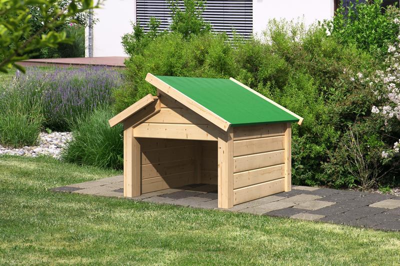 Woodfeeling Karibu Holz Garage 19 mm Haus für Mähroboter Stufendach in naturbelassen (unbehandelt)