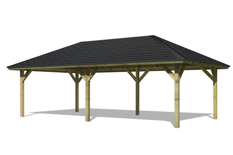Set: Karibu Holzpavillon Holm 2 4-Eck-Pavillon Premium - inkl. schwarzen Dachschindeln