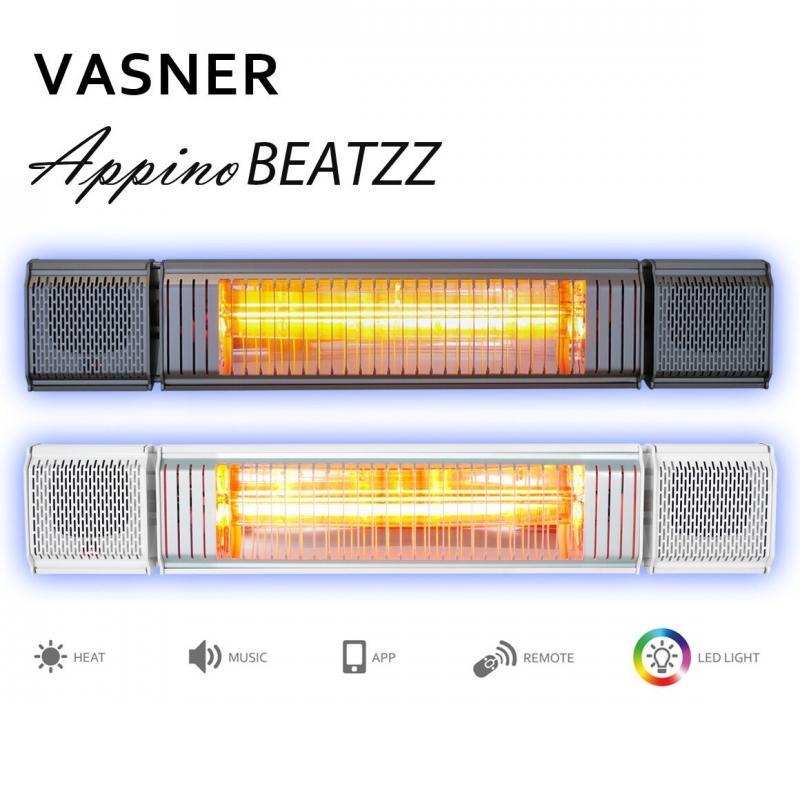 VASNER Appino BEATZZ Infrarot-Heizstrahler, Terrassenstrahler dimmbar 2000 W, Bluetooth, LED Backlight Licht, Musik-Lautsprecher Außenbereich Farbe: grau