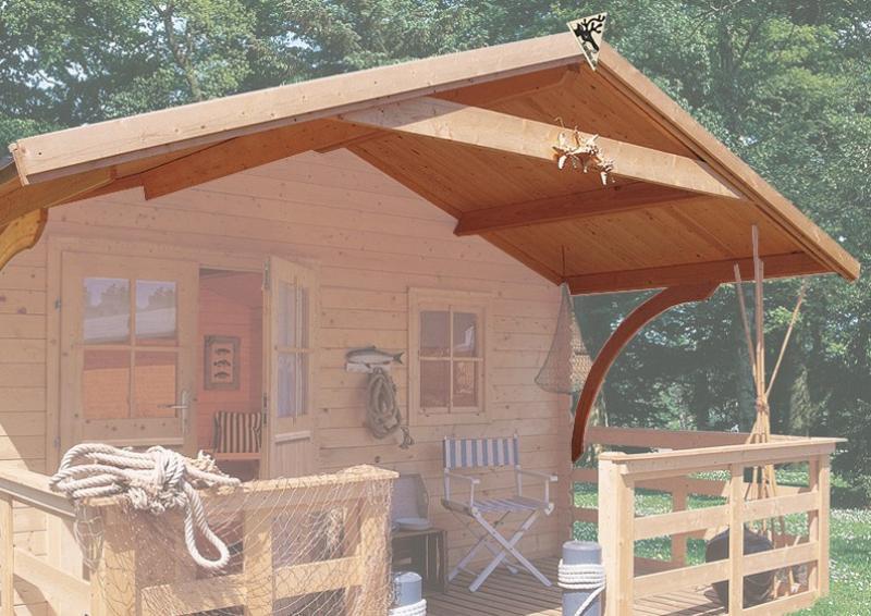 Karibu Holz-Gartenhaus Hardenberg 2 + Vordach Satteldach 28 mm Massiv - natur