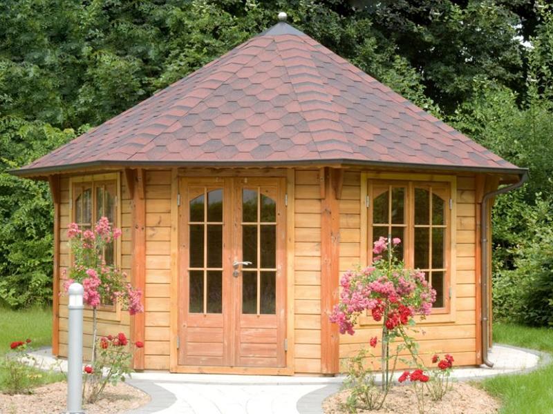 Wolff Finnhaus Holz-Gartenhaus 45mm GartenHolz Gartenpavillon aus Holz Palermo  4.5 rot-schwarz
