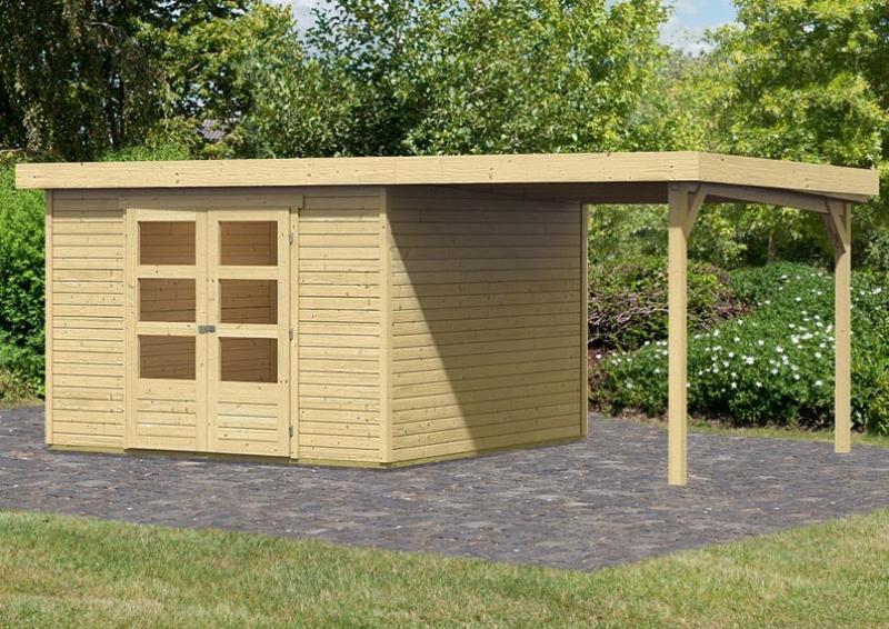 Woodfeeling Gartenhaus Askola 6 Pultdach 19 mm System inkl. Schleppdach - natur