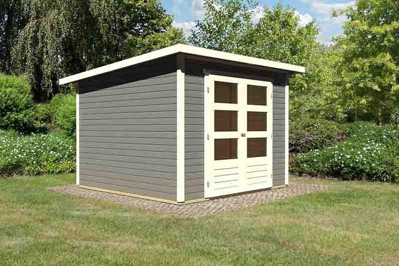 Woodfeeling Karibu Holz Gartenhaus Stockach 4 in terragrau