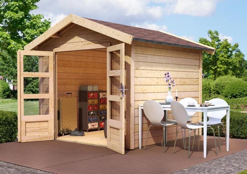 Woodfeeling Gartenhaus Tastrup 7 Satteldach 28 mm System mit 2x Dachausbau - natur