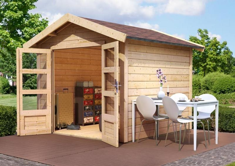 woodfeeling gartenhaus tastrup 7 satteldach 28 mm system mit 2x dachausbau natur. Black Bedroom Furniture Sets. Home Design Ideas
