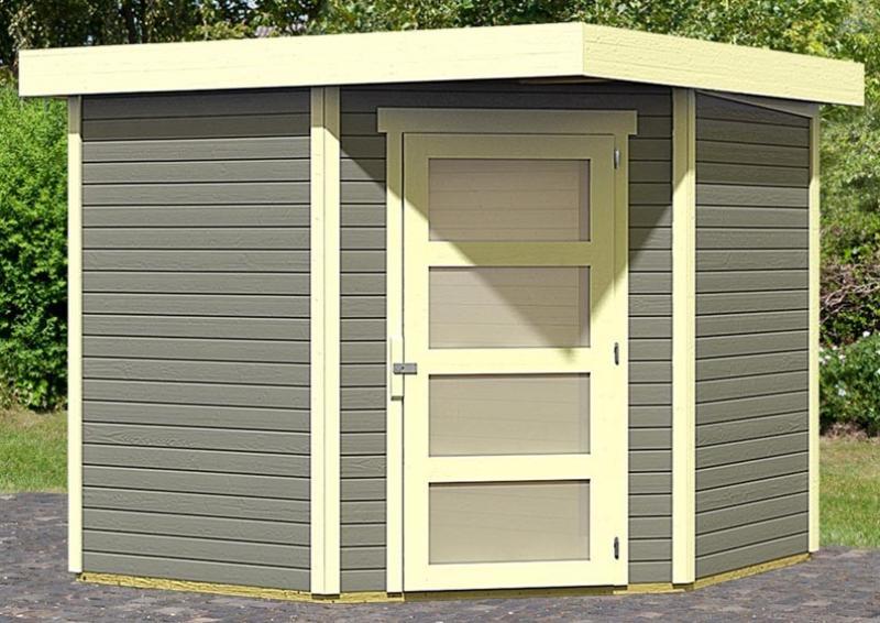 Karibu Woodfeeling Holz-Gartenhaus: Schwandorf 5 Pultdach 19 mm System - terragrau