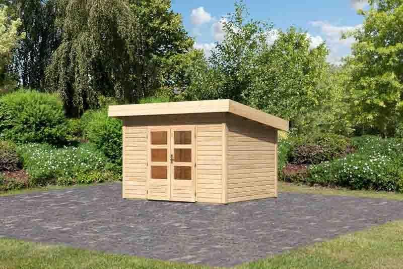 Woodfeeling Gartenhaus Flachdach Northeim 2- 40 mm System - naturbelassen