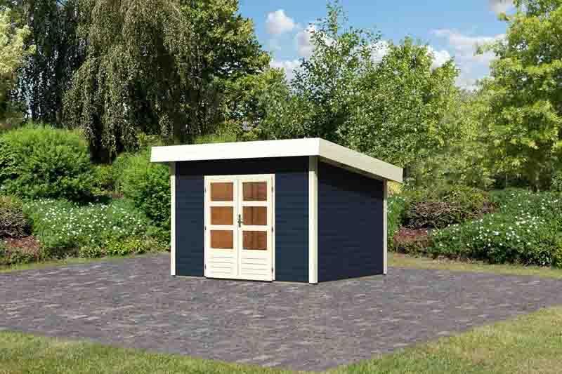 Woodfeeling Holz-Gartenhaus Flachdach Northeim 2- 40 mm System - opalgrau