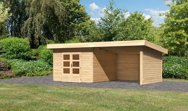 Sonderangebot: Woodfeeling Gartenhaus: Northeim 3 im Set mit einem Anbaudach Breite 3 m und 28mm Seiten- und Rückwand - 40 mm Pultdach  - naturbelassen