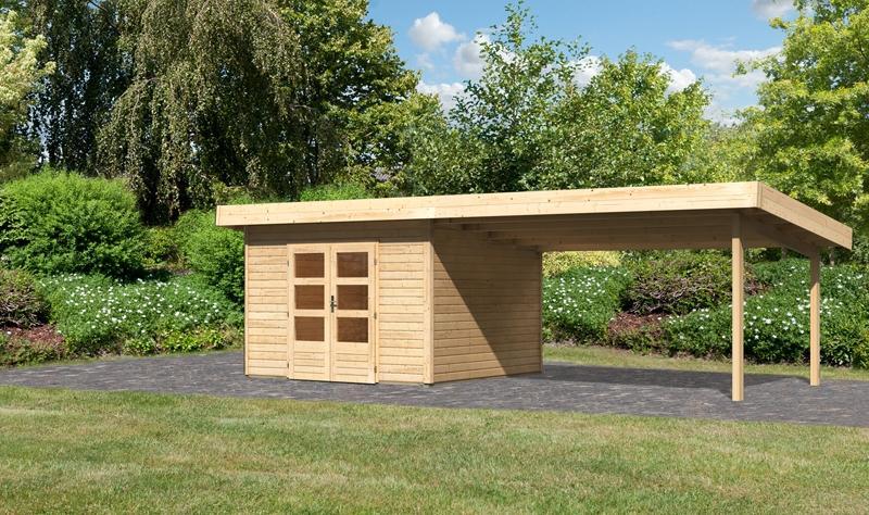 Sonderangebot: Woodfeeling Holz-Gartenhaus: Northeim 3 im Set mit einem Anbaudach Breite 4 m - 40 mm Pultdach  - naturbelassen