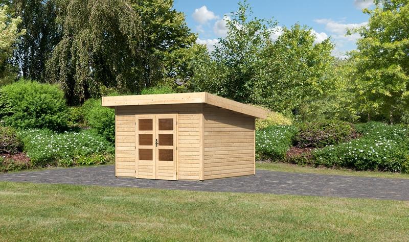 Woodfeeling Holz-Gartenhaus Flachdach Northeim 3 - 40 mm System - naturbelassen