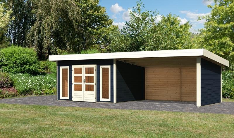 Sonderangebot: Woodfeeling Holz-Gartenhaus: Northeim 4 im Set mit einem Anbaudach Breite 4 m und 28mm Seiten- und Rückwand - 40 mm Pultdach -  opalgrau