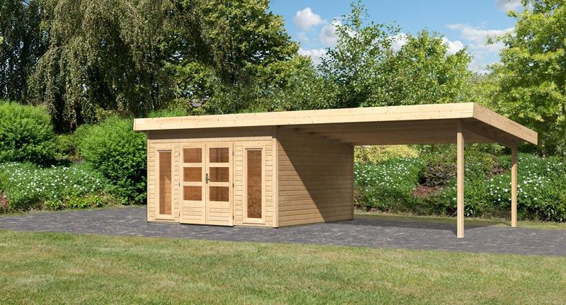 Sonderangebot: Woodfeeling Gartenhaus: Northeim 5 im Set mit einem Anbaudach Breite 4 m - 40 mm Pultdach  - naturbelassen