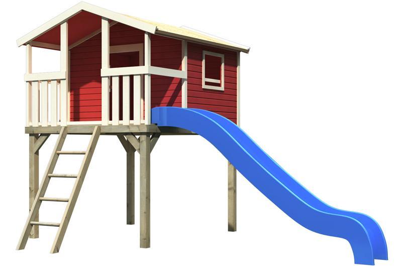 Woodfeeling Stelzenhaus Benjamin im Set mit Rutsche 3 m blau - kastanienrot