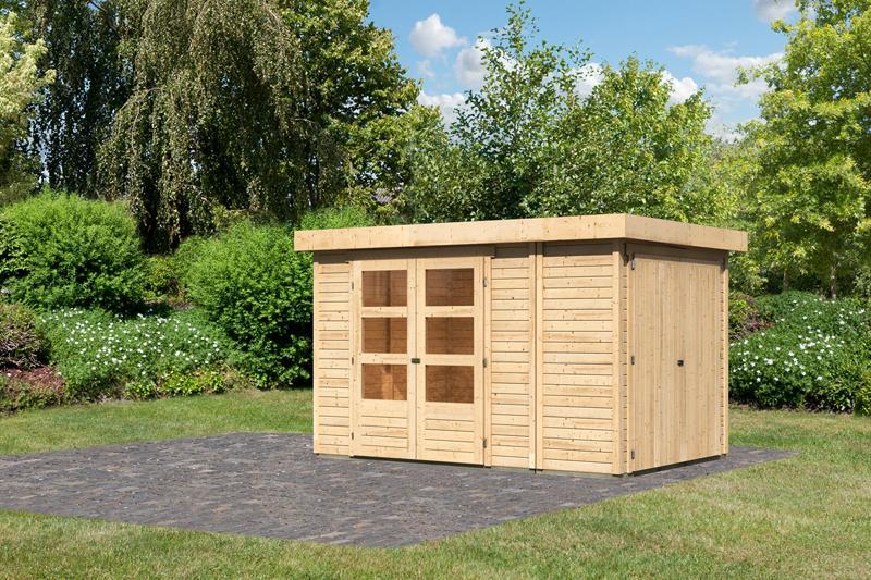 Woodfeeling Karibu Holz-Gartenhaus Retola 3 inkl. Anbauschrank in naturbelassen (unbehandelt)