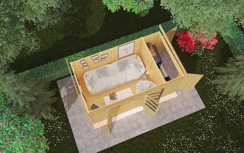 Woodfeeling Karibu Holz-Gartenhaus Retola 3 inkl. Anbauschrank und Anbaudach 2,40 m Breite in naturbelassen (unbehandelt)