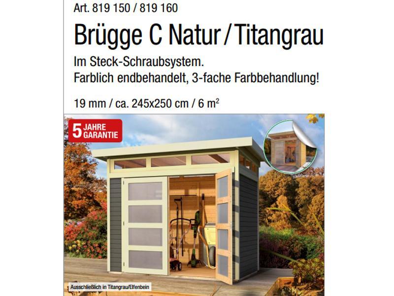 Wolff Finnhaus 19mm Gartenhaus Brügge A mit Flachdach - naturbelassen