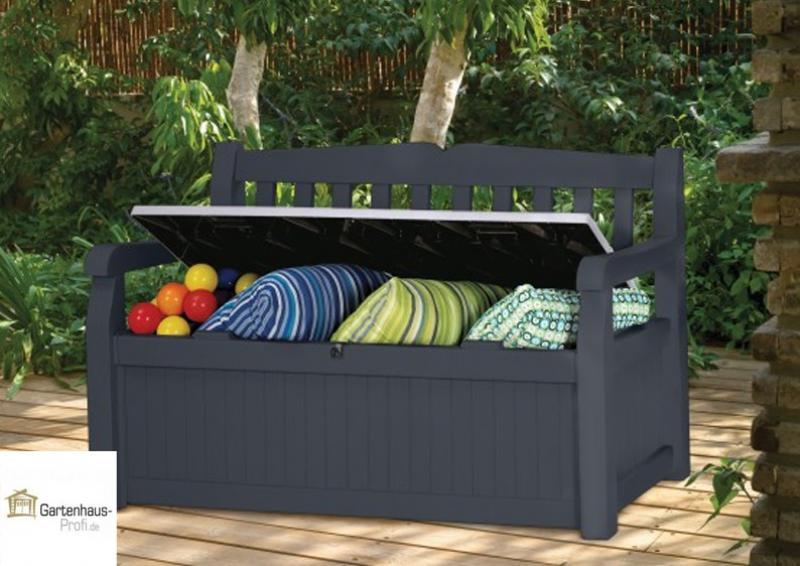 Tepro Kunststoff Aufbewahrungsbox Gartenbank Garden Bench 265 Liter - anthrazit-grau