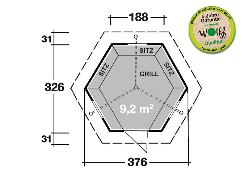 Wolff Finnhaus Grillkota 9 de luxe inkl. Lapplandpaket, 5 Rentierfelle, schwarze Dachschindeln - 376x325,6 cm