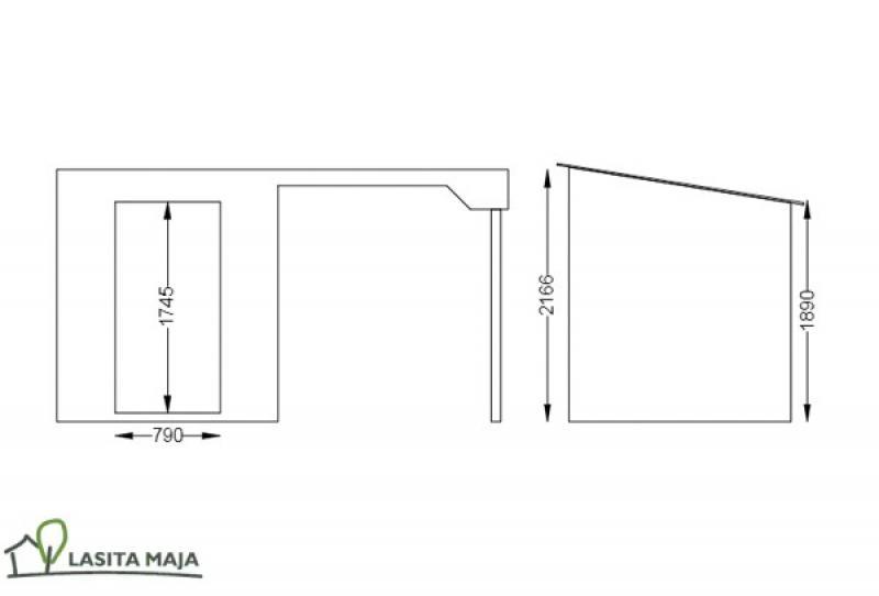 Lasita Maja Gartenhaus Flachdach Jelle Plus inkl. Schleppdach und Dachpappe