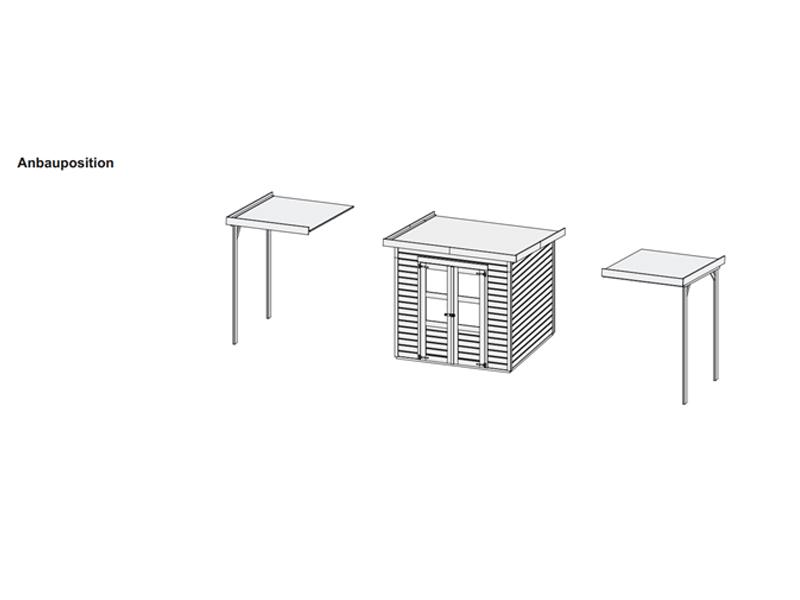 Karibu Aktionsangebot: 14 mm System Gartenhaus Berlin inkl. Anbaulounge  - naturbelassen