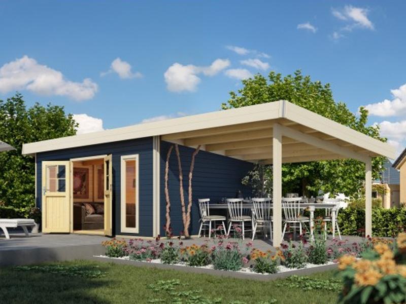 Karibu Holz-Gartenhaus  40 mm Tecklenburg 2 im Set 3 m Anbaudach Seiten- und Rückwand naturbelassen