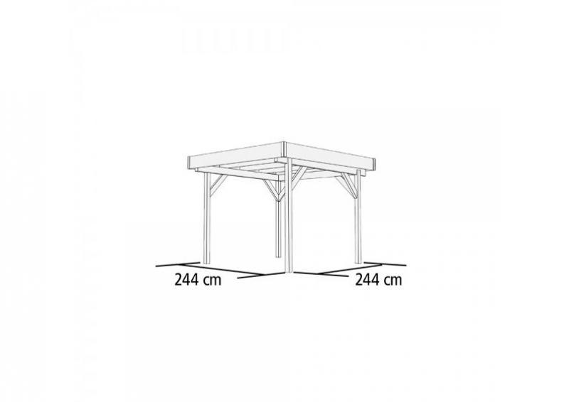 Karibu Holzpavillon 4-Eck Flachdach-Pavillon 1 - kdi