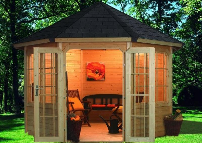 Sonderangebot: Karibu Holzpavillon Roma 2 8 Eck   Premium   natur