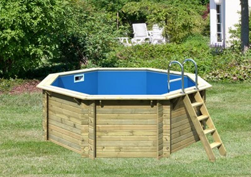 karibu pool holz swimmingpool achteck modell a1 400 x 400 cm kdi ohne sonnenterasse. Black Bedroom Furniture Sets. Home Design Ideas