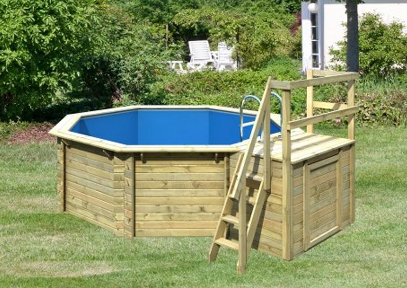 Karibu Pool Holz Swimmingpool Achteck Modell B1  400 x 480 cm - kdi - inkl. Sonnenterrasse