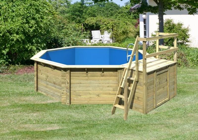 Karibu Holzpool Swimmingpool Achteck Modell B2  470 x 550 cm - kdi - inkl. Sonnenterrasse